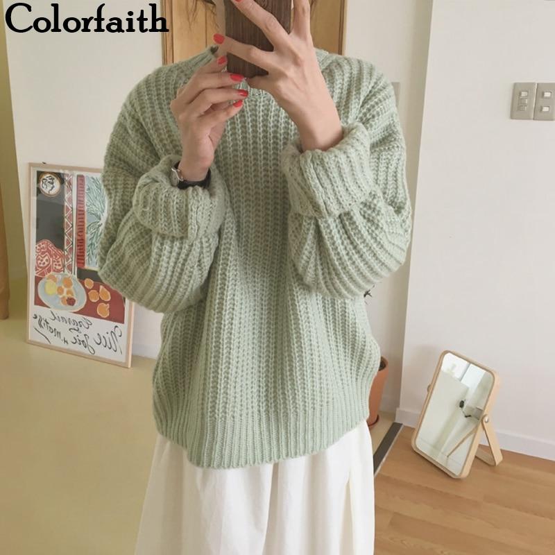 Colorfaith 2019 New Autumn Winter Women Sweaters Pullovers Minimalist Korean Style Knitting Ladies Sweet Pink Tops SW18131