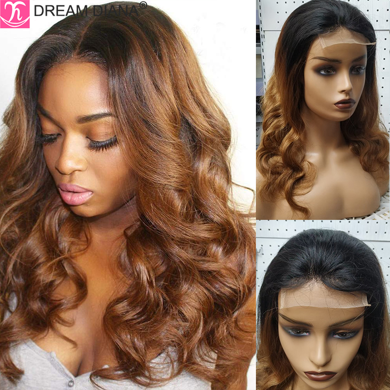 DreamDiana Ombre Body Wave Human Hair Wig T Part 2 Tone Ombre Brazilian Hair Wavy Lace Wig 100% Remy Human Hair 4x4 Closure Wigs