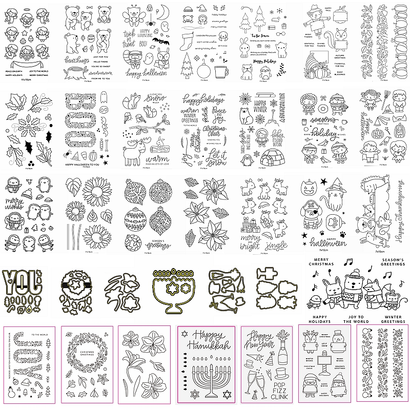 <font><b>Halloween</b></font> Christmas Cutting <font><b>Dies</b></font> Match Combine Clear <font><b>Stamps</b></font> Mix Cute Animals Human Flower Pumpkin Letter Making Card Hot Selling image
