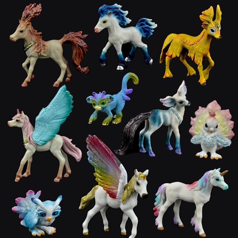 Original Genuine Fairy Tale Mythical Animal Elves Mini Small Fly Unicorn Horse Figure Model Wild Figures Kids Figurine