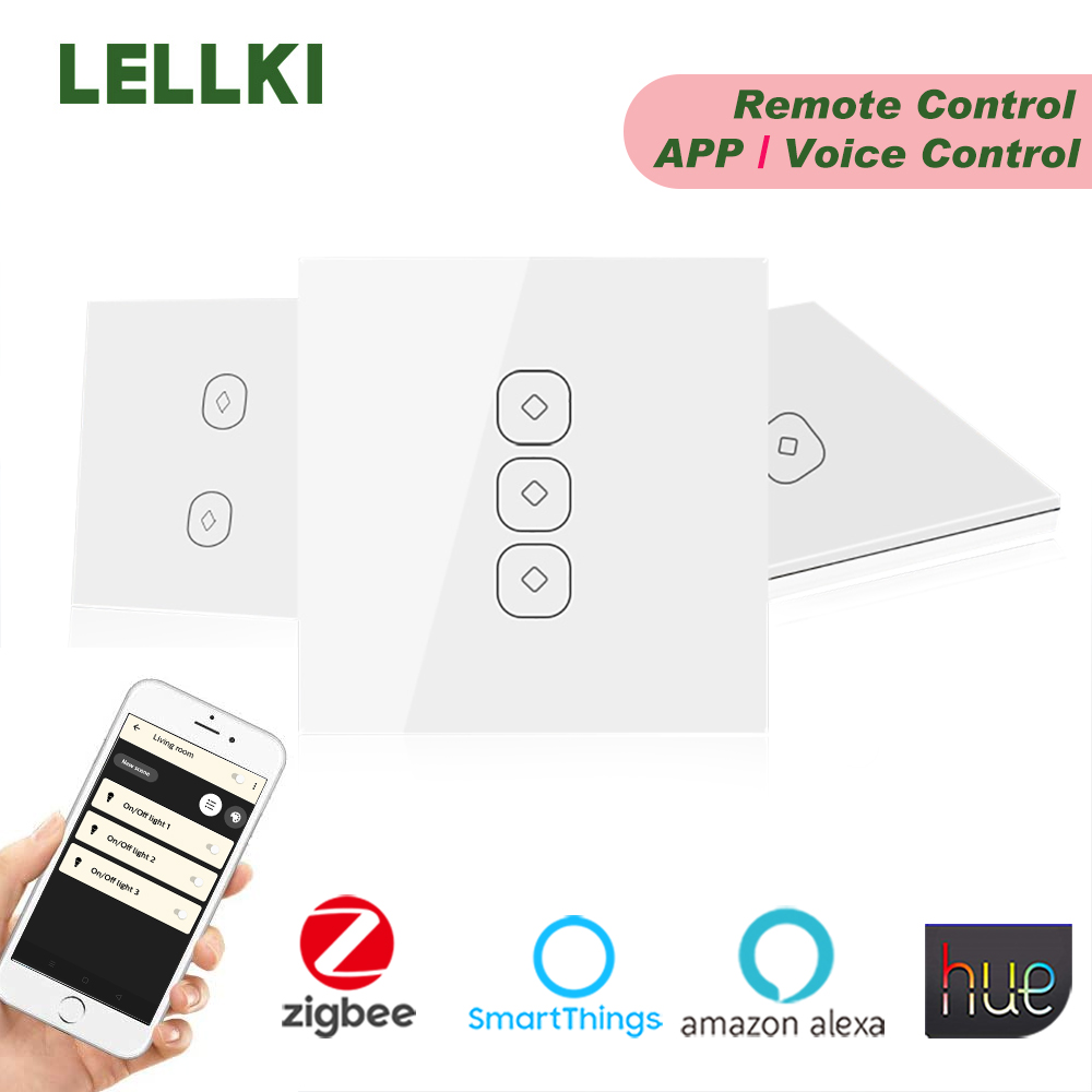 LELLKI Zigbee Smart Light Switch 10A EU Wall Touch Switch Relay Zero Line Remote Control Wireless Alexa Hue SmartThings