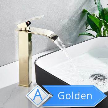 POIQIHY Basin Faucets Waterfall Bathroom Faucet Single handle Basin Mixer Tap Bath Antique Faucet Brass Sink Water Crane Silver 11