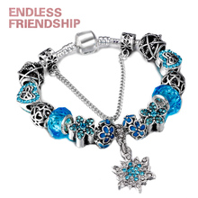 HOMOD Silver Plated Crystalized Snowflake Charm Bracelets For Women Glass Beads Fit Pandora & Bangles DIY Jewelry