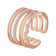 Open Rings for Women Rose Red 925 Adjustable Rhinestone Ladies Silver Designer Fashion Jewelry Female Party Accessories