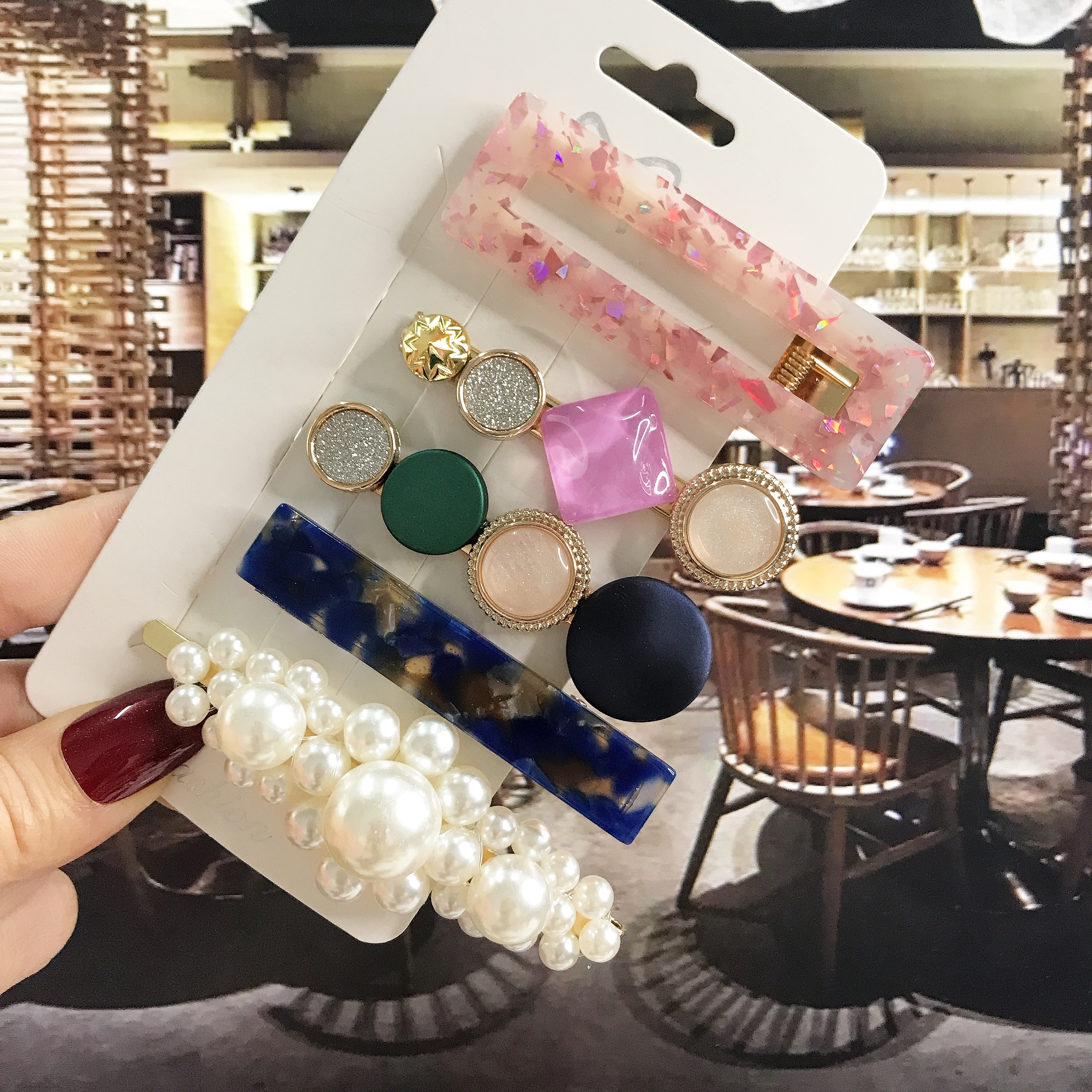 Simulated Pearl Acrylic Barrette Clips For Women Girl Hair Accessories Korean Fashion Geometric BB Hairpins Set Hairgrip Jewelry