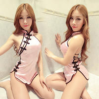 Sexy lingerie uniforms Backless qipao classic lace sexy transparent lace pajamas