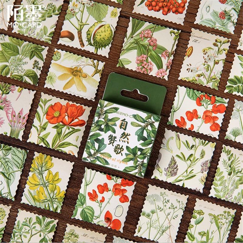 46pcs/box Nature Praise Boxed Sticker Cartoon Flower Plant Decoration Sticker Flakes Scrapbooking School Supplies