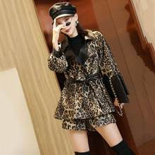 Plus Size M-6XL Suit women coat 2020 New spring Leopard Fashion Suit Women Loose Shorts + Jacket 2 Pieces Sets Female Sets TZ28(China)