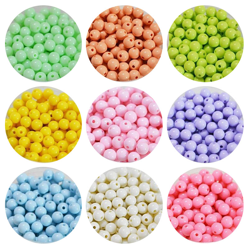 DIY Children Beaded Bracelet Material Acrylic Loose Beads Ice Cream Spring Color Round Beads Acrylic Solid Color Beads