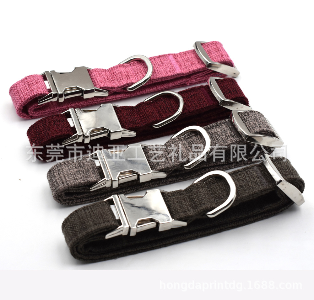 Electricity Supplier 4-2.5 Cm Hemp Cotton Blended Retro Large And Medium-sized Dog Neck Ring Pet Collar Quality Visible