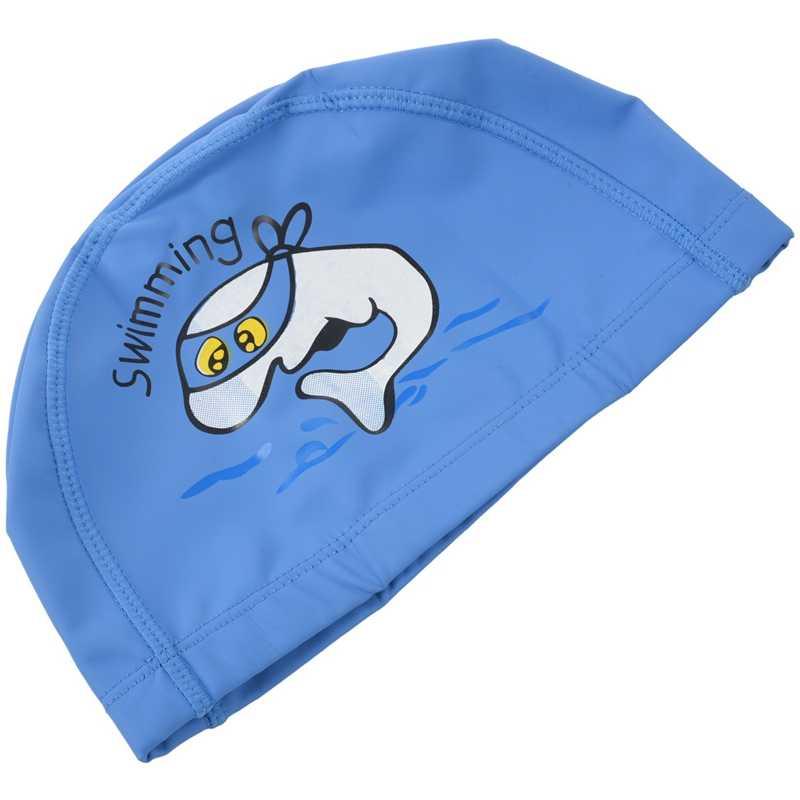 Unisex Dei Capretti Dei Bambini di Nuoto Traspirante Cappello Impermeabile Cura Dei Capelli Orecchio di Protezione Protezione di Nuotata Poliestere Del Fumetto Delfino Modelli Blu