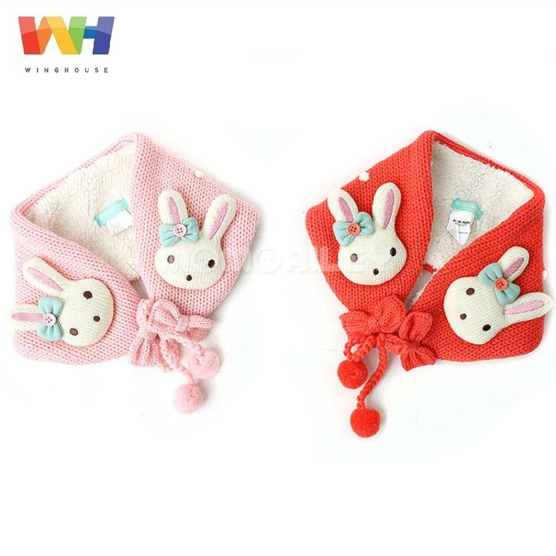 Winghouse Children Earmuffs Cartoon Rabbit Cute Fur Ball Girl Ear Bags Warm Windproof Earplugs Winter Headphones Kids Head Wear