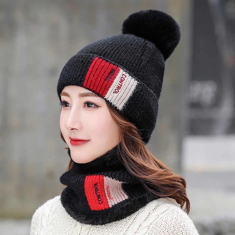 Winter nieuwe hoeden halzen tweedelige jassen dikker warmer wol caps Koreaanse versie van kleuraanpassing modieuze Gebreide Muts dames