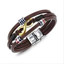 Men Jewelry Multilayer braiding Leather Retro brown bracelet bangle so156