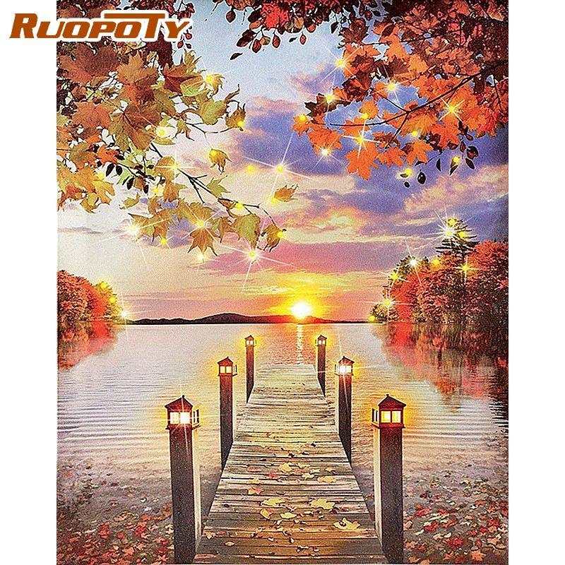 RUOPOTY 40x50cm encadré peinture par numéros Kits adultes bricolage cadeau érable pont sur rivière paysage peintures par numéro mur Art Pictur