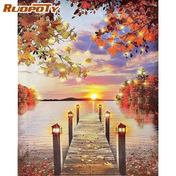 RUOPOTY 40x50cm Framed Painting By Numbers Kits Adults DIY Gift Maple Bridge On River Landscape Paints By Number Wall Art Pictur