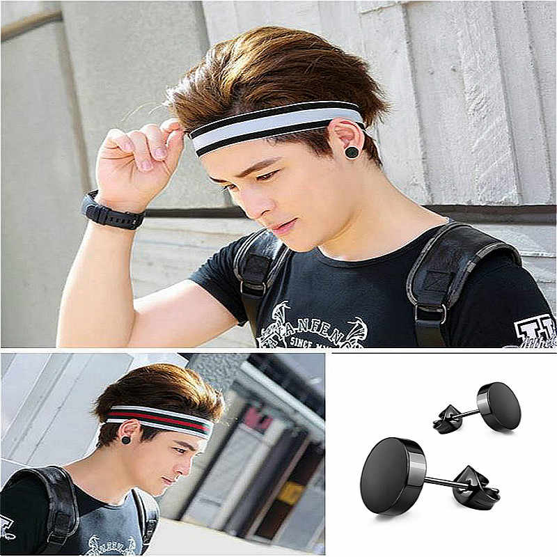 Hip Hop Rock 8mm Black Titanium Steel Stud Earrings Stainless Steel Dumbbell Earrings Jewelry For Women Men