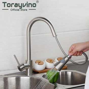 Torayvino 360 Swivel Nickel Brushed Kitchen Pull Out Faucet Solid Brass Spray Deck Mounted Basin Sink Cold And Hot Mixer Tap