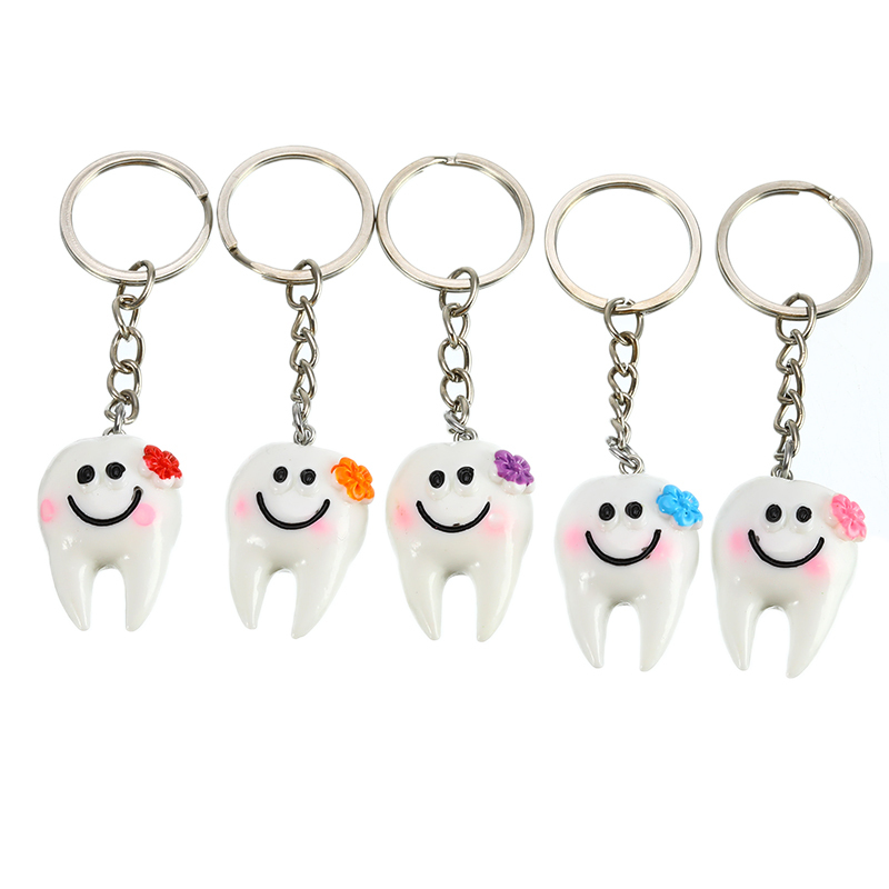 1/5Pcs Dental Simulation Pendant Tooth Keychain Lovely Cartoon Dental Decoration Dental Accessories Clinic Promotional Gifts