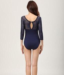 Image 4 - Collants de balé adulto 2020 nova alta qualidade prática confortável dança traje ginástica adulto azul marinho collant ballet