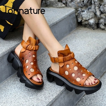 Johnature sandalias de plataforma de cuero genuino 2020, nuevos zapatos de verano para mujeres, banda elástica, sandalias casuales Retro huecas hechas a mano para mujeres