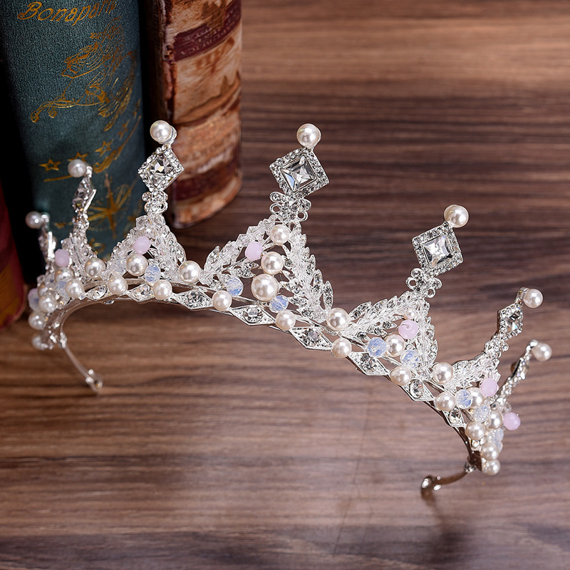 2PCs Pearl Headband Princess Crown Diadem for Girls Bridal Hair Accessories Wedding Tiara Bride Decoration Jewelry Ornaments in Hair Jewelry from Jewelry Accessories