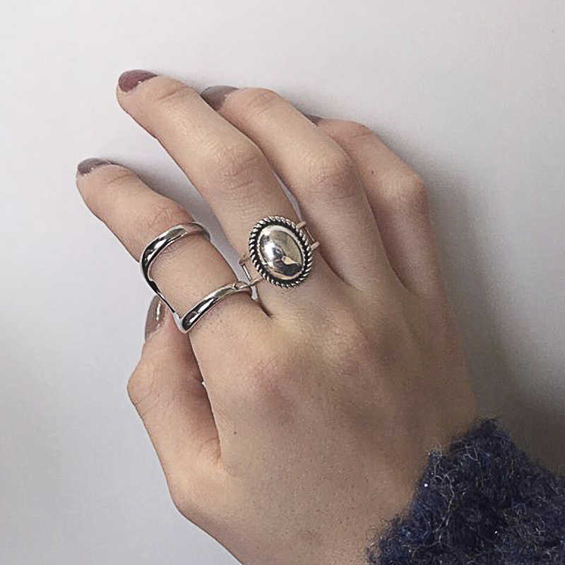 Kinel S925 Sterling Silver Ring Personality Neutral Style Simple Round Glossy Open Ring Boho Beach Party Jewelry Best Gift