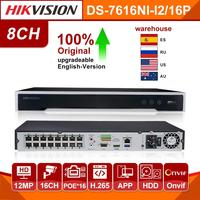 Original Hikvision NVR Network Video Recorder DS 7616NI I2/16P 16CH 16 Channel 16 POE NVR 12MP Cameras 4K resolution ports