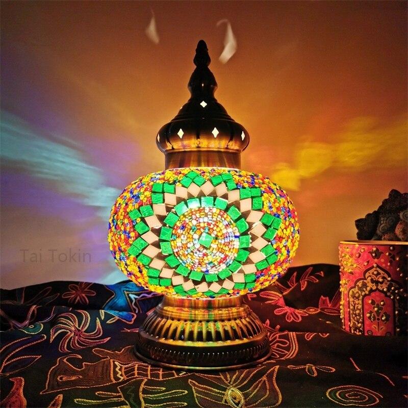 Lampe de table en mosaïque turque de grande taille vintage art déco fabriqué à la main