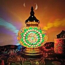 Lámpara de mesa mosaico turca de gran tamaño vintage art deco artesanal lamparas de mesa de cristal romántico lamparas con mosaicos