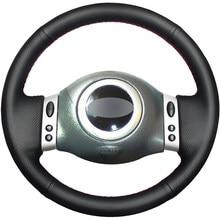 Preto PU Couro Falso DIY Mão-costurado Tampa Da Roda de Direcção Do Carro para Mini Coupe 2001-2006