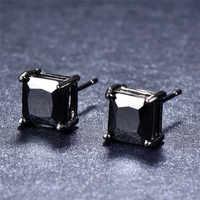 Pendientes minimalistas de oro negro para mujer, 4/5/6/7mm, clásicos, pequeños, cuadrados, a la moda, color negro, para hombre y mujer