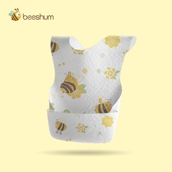 Beeshum 20PCS/PACK Baby Bibs Waterproof Non-Woven Fabric Feeding Baby Saliva Towel Newborn Cartoon Aprons Baby Bibs Adjustable