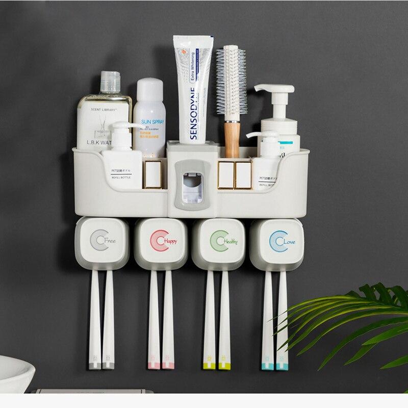 4pcs Multifunctional Toothbrush Holder Bathroom Accessories Set Automatic Toothpaste Dispenser Holder Bathroom Storage
