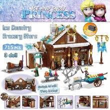 715 pçs série rainha da neve mercearia gelo princesa blocos de construção tijolos compatível mágico meninas amigos brinquedos