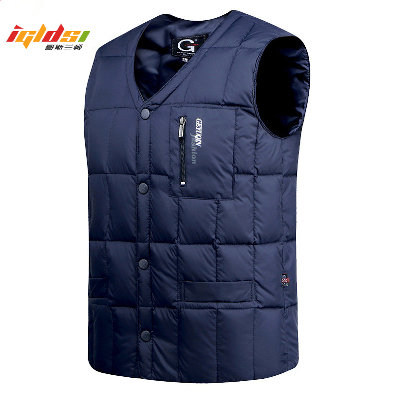 Men's Winter White Duck Down Jacket Vest Autumn Warm Sleeveless V-neck Button Down Lightweight Waistcoat Casual Male Vest M-3XL