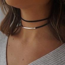 2019 New fashion Bending tube Velvet Choker Necklace Double layer Style Torque Black Short Leather Necklace Charm Collier Femme artificial leather velvet x shaped choker necklace