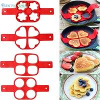 Antihaft Kochen Werkzeug Ei Ring Maker Ei Silikon Mold Pancake Käse Ei Herd Pan Flip Küche Backen Zubehör-in Ei & Pfannkuchen Ringe aus Heim und Garten bei