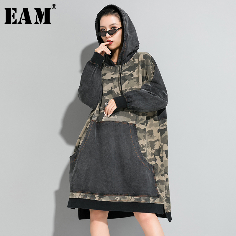 [EAM] Women Gray Camouflage Big Size Denim Long Dress New Hooded Long Sleeve Loose Fit Fashion Tide Spring Autumn 2020 1R655