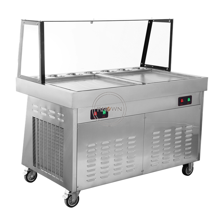 5% Discount 2400w Fried Ice Cream Machine Stainless Steel Ice Cream Machine Double Pans Ice Cream Roll Machine
