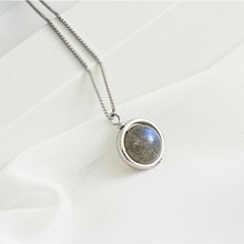 Women Necklace 100% 925 Sterling Silver Natural Labradorite Stone Pendant Necklace Blue Light Fashion Jewelry collares collier недорого