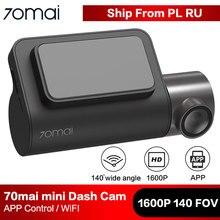 70mai mini câmera inteligente para carro, wi fi, dvr, 1600p, hd, visão noturna, sensor g, app 140fov gravador de vídeo automático 70 mai dashcam