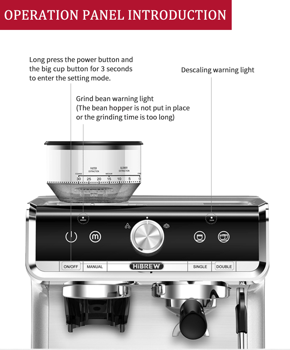 HiBREW Barista Pro 20Bar Conical Burr Grinder Bean to Espresso Commercial Level Espresso Maker Full Kit Cafe Hotel Restaurant