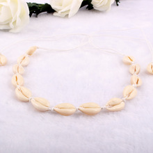 New Fashion Black Rope Chain Natural Seashell Choker Necklace Collar Necklace Shell Choker Necklace for Summer Beach Gift