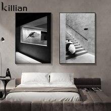 Clássico preto e branco ilustração animal escada arte impressão cartaz simples moda masculino quarto sala de estar decoração para casa