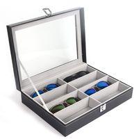 ブラックPUレザーサングラス8スロット,ガラス収納ボックス,オーガナイザーケース,1個