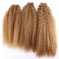 Crépus cheveux raides armure 70 g/pcs extensions de cheveux synthétiques couleur brun doré double trame de cheveux pour les femmes