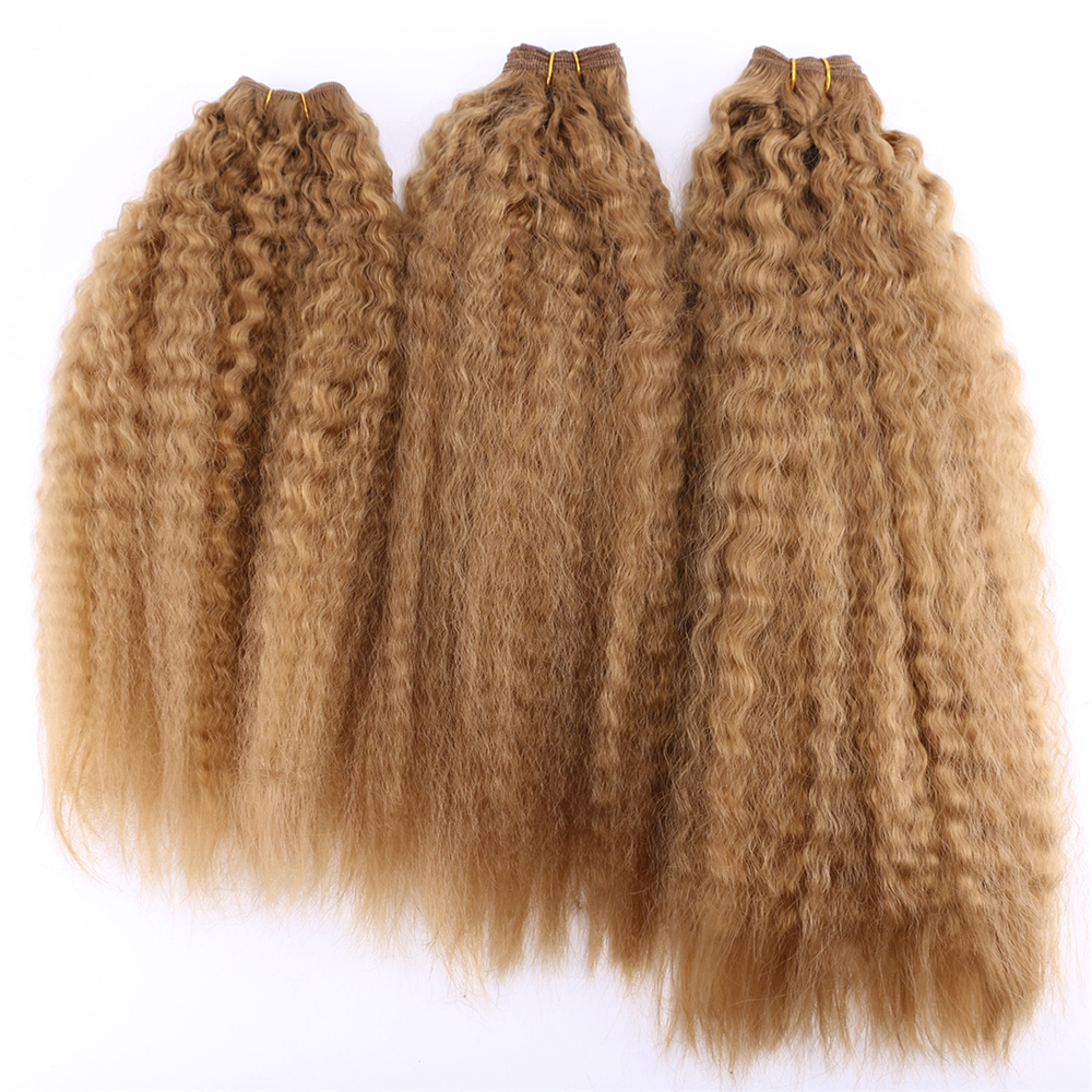 Kinky Straight Hair Weave 70g/pcs Synthetic Hair Extensions Golden Brown Color Double Hair Weft For Women