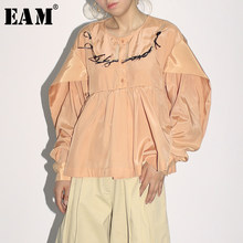 [EAM] Bandage Hollow Out Pleated Button Women Blouse New Round Long Sleeve Loose Fit Shirt Fashion Tide Spring Autumn 2019 JZ182(China)