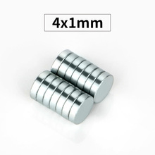 RKZCT 100шт/Лот 4 * 1 мм практичный сильный магнит редкой Земли постоянные круглые магниты мощный неодимовый диск imanes для офиса